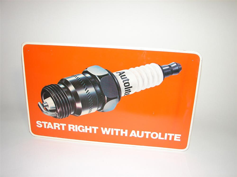 Good looking Auto Lite Spark Plugs tin painted garage sign with over-sized plug graphic. - Front 3/4 - 101730