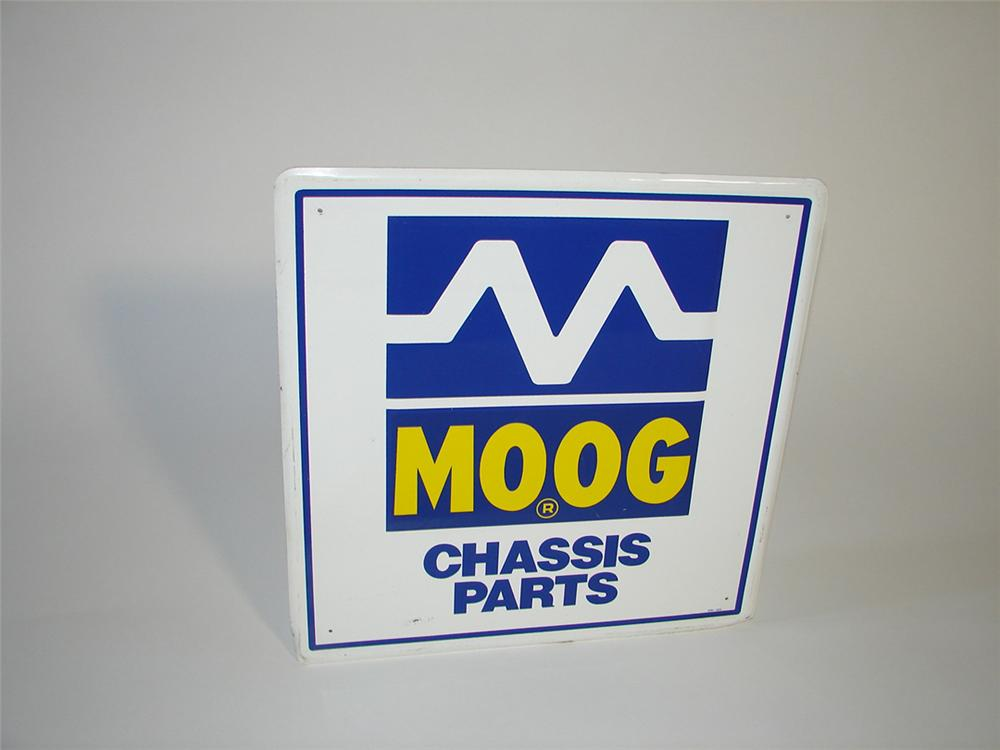 Moog Chassis Parts single-sided embossed tin garage sign. - Front 3/4 - 101731