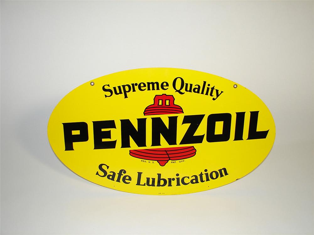 Very clean Pennzoil double-sided die-cut tin garage sign. - Front 3/4 - 101732