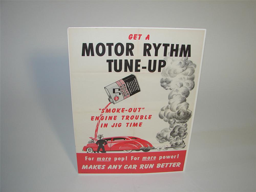 N.O.S. 1940s Whiz Motor Rhythm Tune-Up service garage poster with outstanding period graphics. - Front 3/4 - 101739