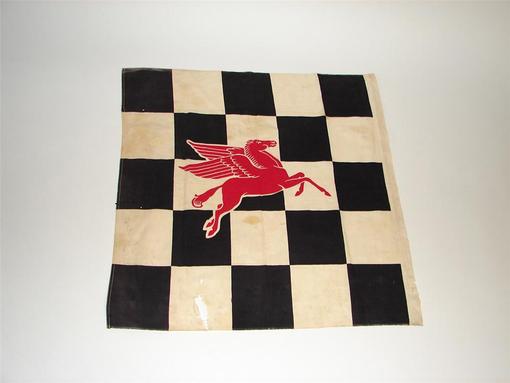 Large 1950s Mobil Oil speedway race used checker flag featuring the iconic Mobil Pegasus. - Front 3/4 - 101740