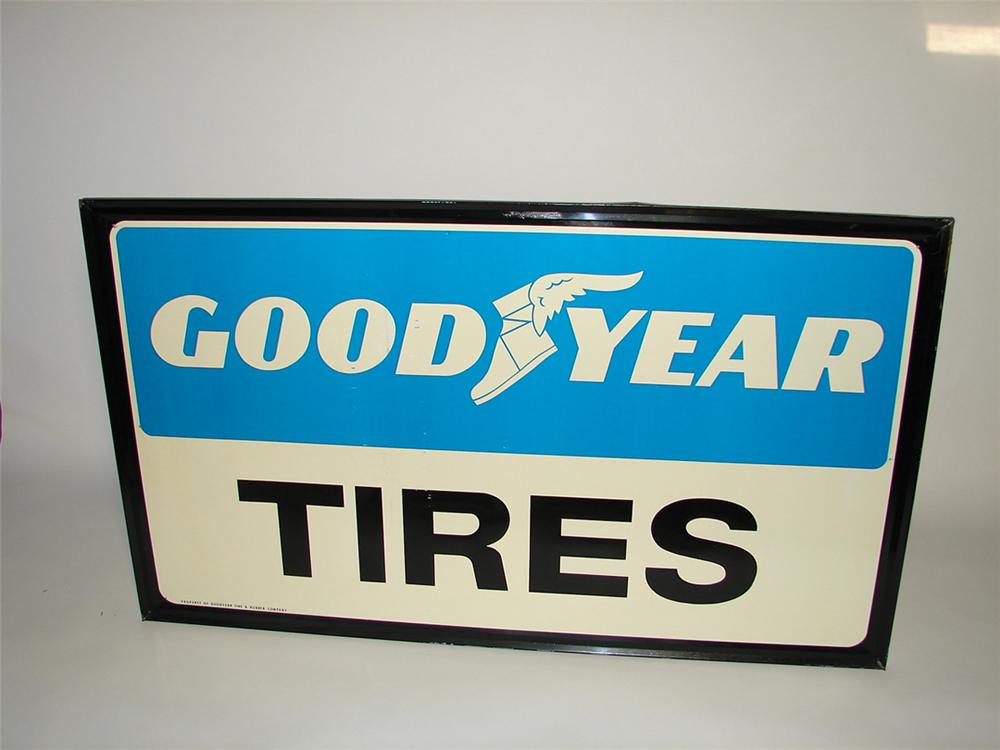 Large Goodyear Tires self-framed tin garage sign. - Front 3/4 - 101742