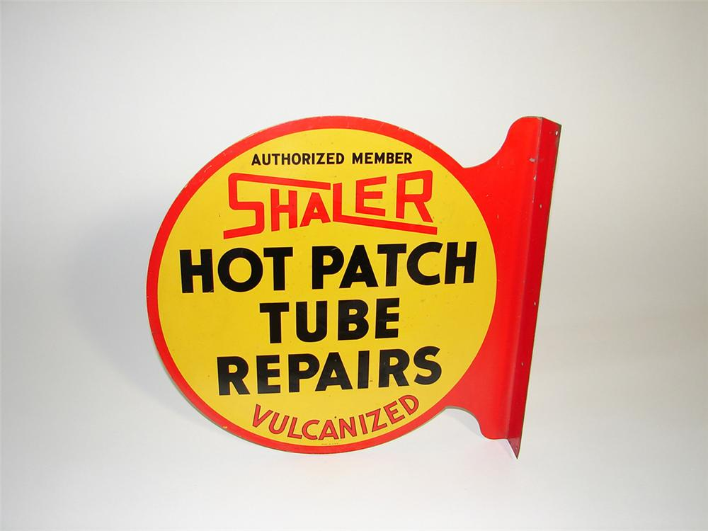 1930s Shaler Hot Patch Tube Repairs double-sided tin garage flange sign. - Front 3/4 - 101743