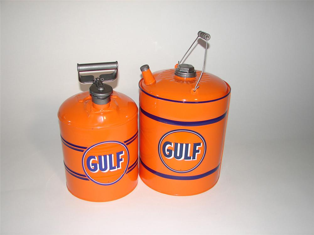 Lot of two vintage Gulf Oil restored service department cans. - Front 3/4 - 101746