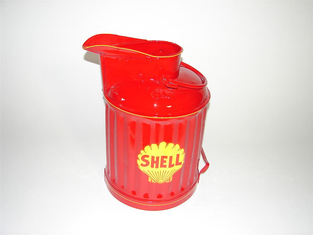 1920s-30s Shell Oil service department restored bulk oil/gas can. - Front 3/4 - 101748