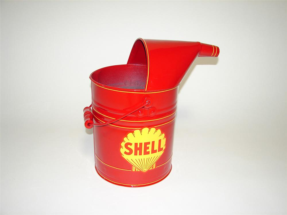 Circa 1930s-40s Shell Oil service department restored bulk oil can. - Front 3/4 - 101749