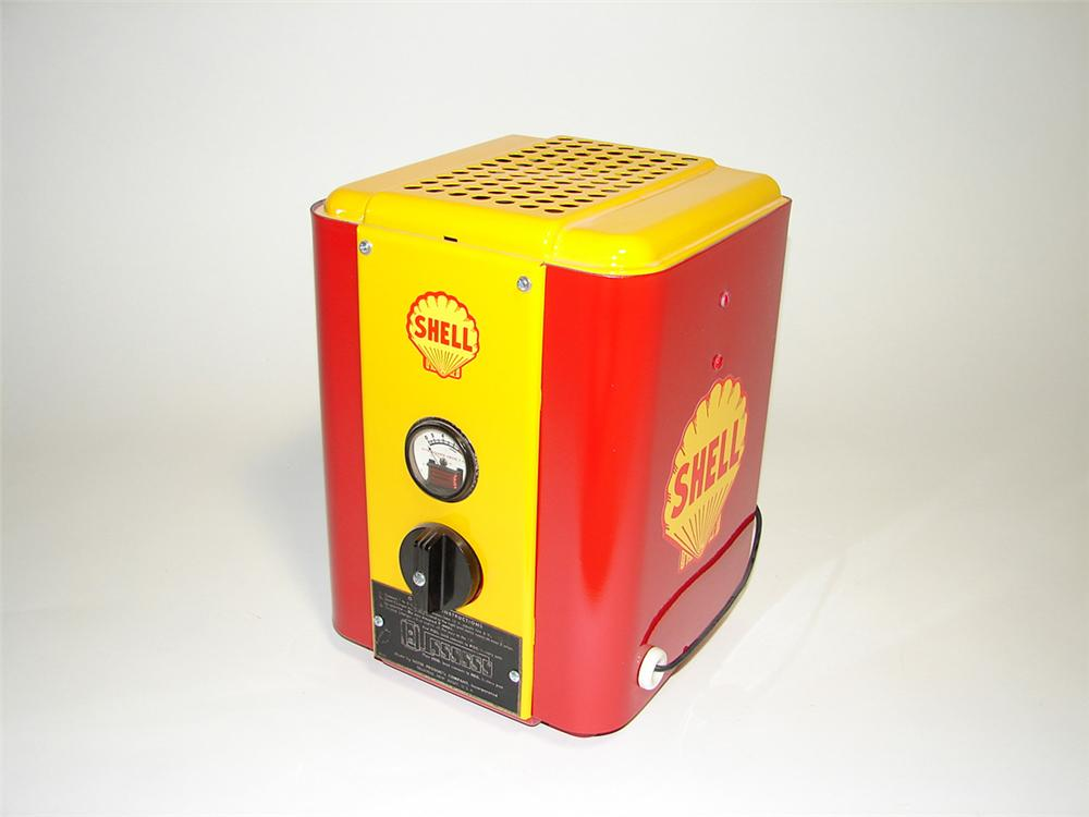 Interesting 1950s Heyer Shell Oil service department restored battery charger/tester. - Front 3/4 - 101750