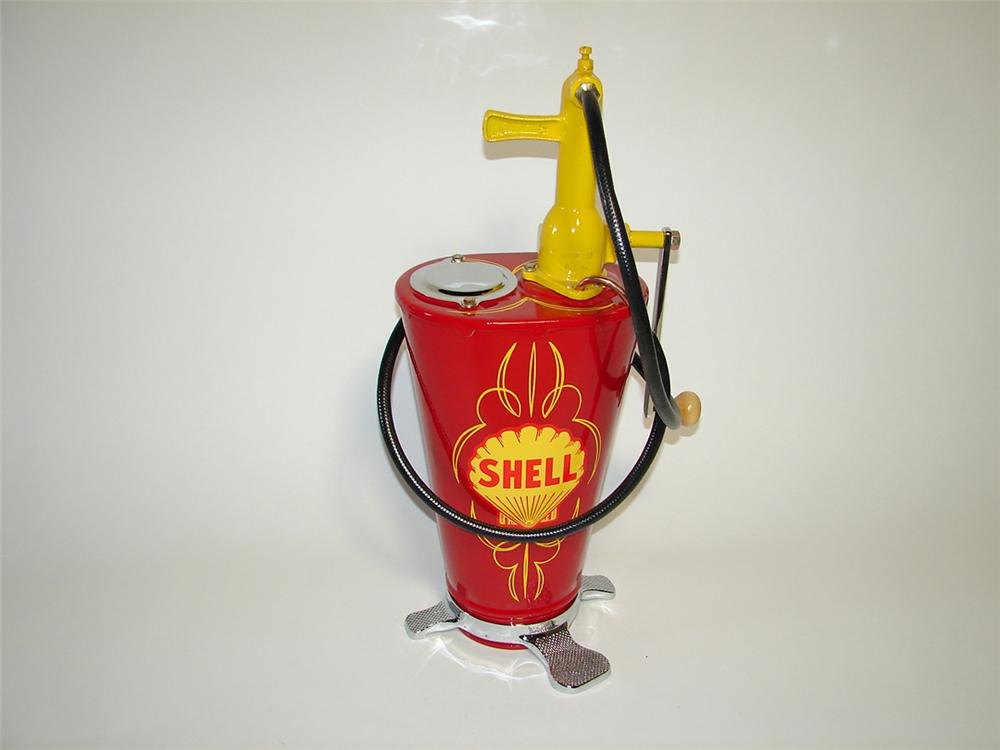 Superlative 1920s-30s Shell Oil service station five gallon hand pump greaser. - Front 3/4 - 101752
