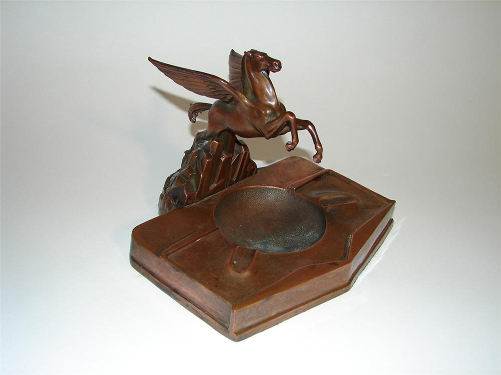 Distinctive 1950s Mobil Oil Pegasus dealer award bronze ashtray. - Front 3/4 - 101803
