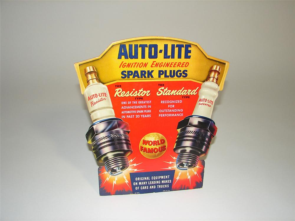 Awesome 1940s Auto Lite Spark Plugs service station counter-top cardboard sign with outstanding colors and graphics. - Front 3/4 - 101804
