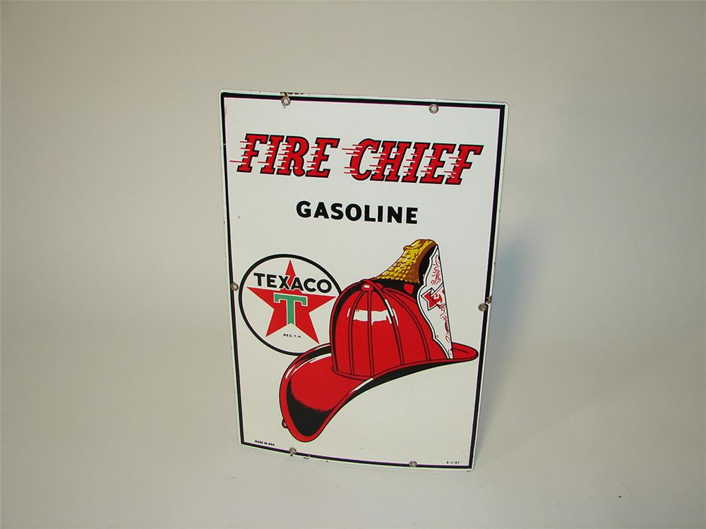 Iconic 1957 Texaco Fire Chief Gasoline single-sided porcelain pump plate sign. - Front 3/4 - 101809