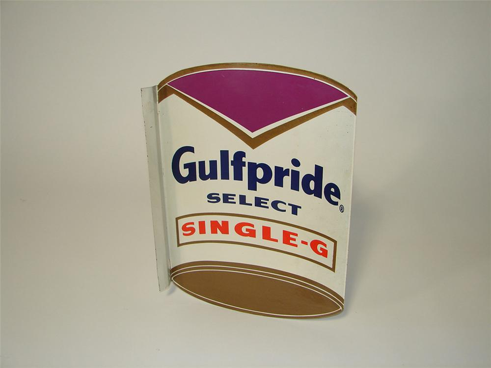 Neat Gulfpride Select Single-G die-cut tin painted can shaped service station flange sign. - Front 3/4 - 101810