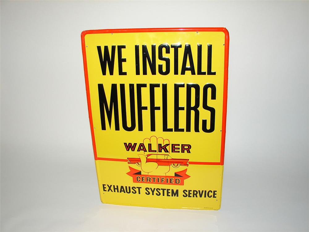 Nifty 1950s We Install Walker Mufflers single-sided embossed tin garage sign with period car graphic. - Front 3/4 - 101813