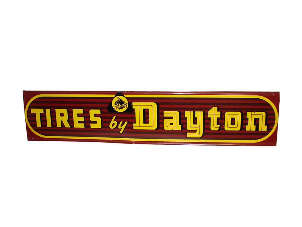 Seldom seen 1940s-50s Tires by Dayton self-framed horizontal tin garage sign with Thorobred logo. - Front 3/4 - 101815