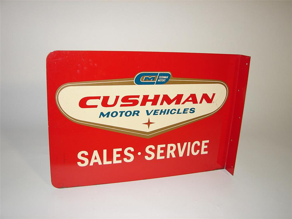 Highly desirable late 50s-early 60s Cushman Motor Vehicles Sales - Service tin painted flange sign. - Front 3/4 - 101816