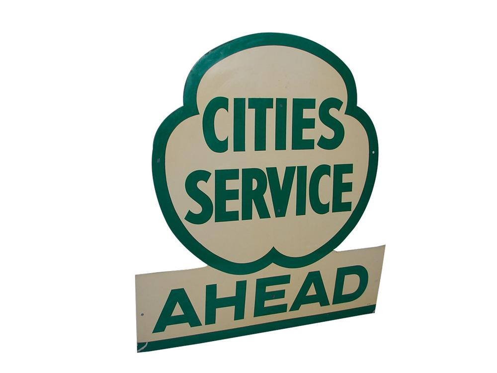 Large 1948 Cities Service Ahead single-sided tin painted garage sign. - Front 3/4 - 101817
