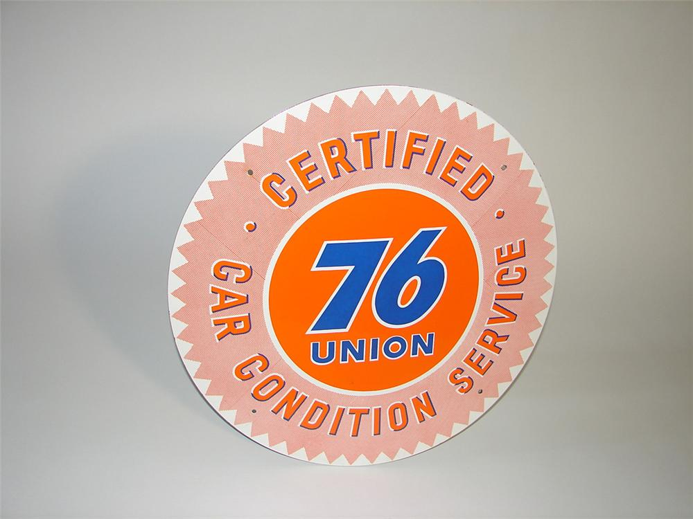 Nearly impossible to find N.O.S. 1950s Union 76 Car Condition Service single-sided porcelain garage sign. - Front 3/4 - 101818
