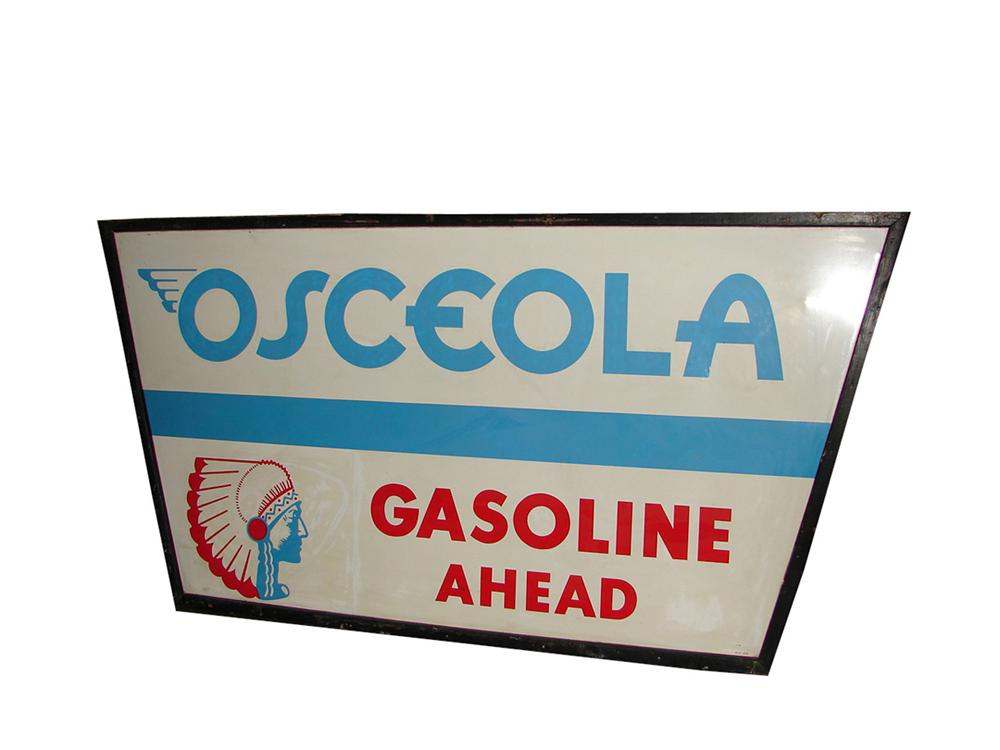 Choice 1930s N.O.S. Osceola Gasoline tin painted wood framed garage sign with Indian Chieftain logo. - Front 3/4 - 101819