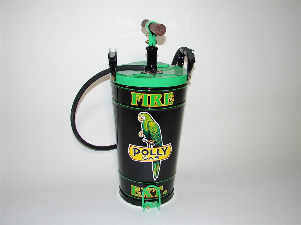 Nifty 1930s Polly Filling Station service department hand pump water fire extinguisher. - Front 3/4 - 101830