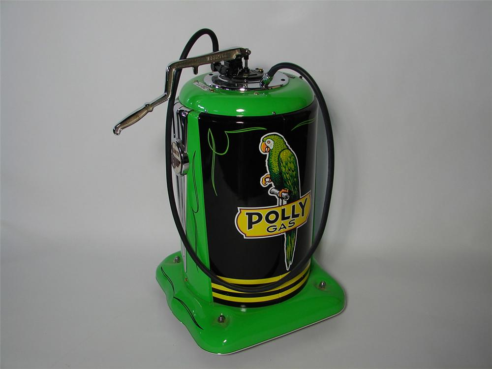 Phenomenal 1940s Polly Service Department Alemite hand pump over-sized lubester on wheels. - Front 3/4 - 101832