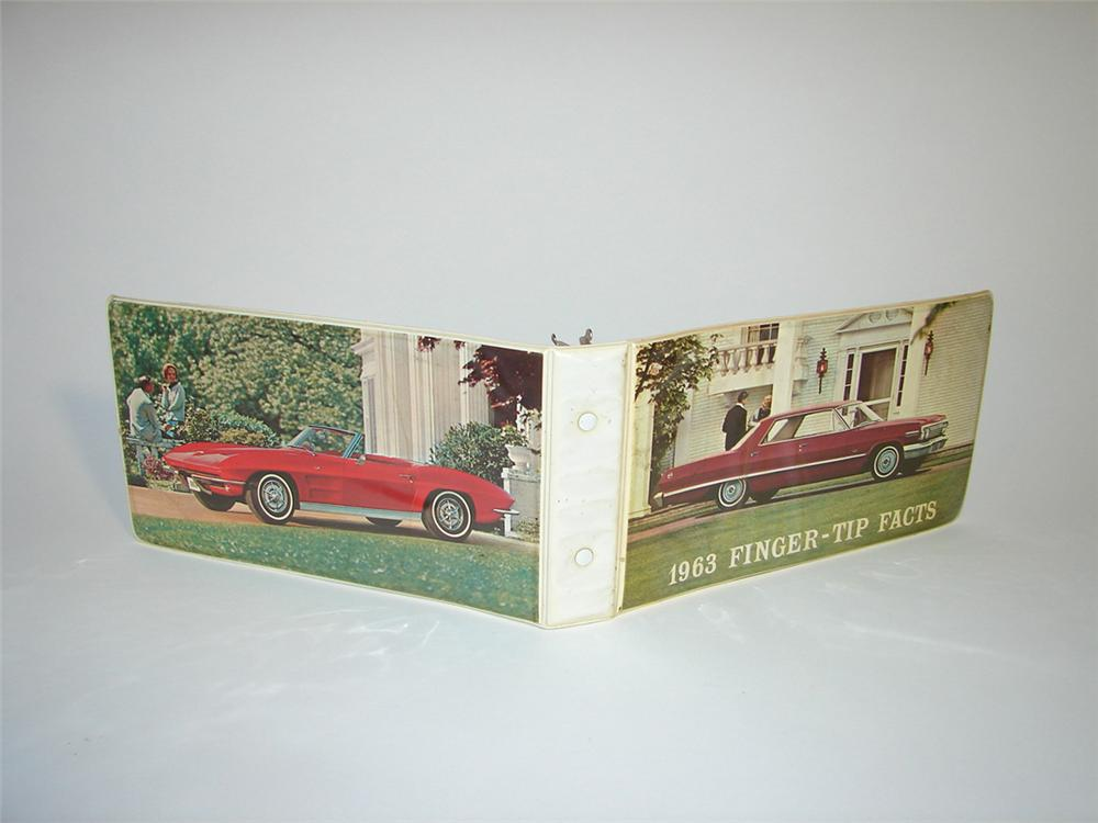 Hard to find 1963 Chevrolet Finger-Tip Facts showroom sales book - Front 3/4 - 101841