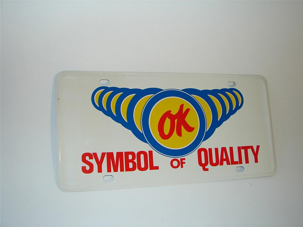 N.O.S. 1960s Chevrolet OK Used Cars Symbol of Quality tin painted showroom sign/license plate. - Front 3/4 - 101842