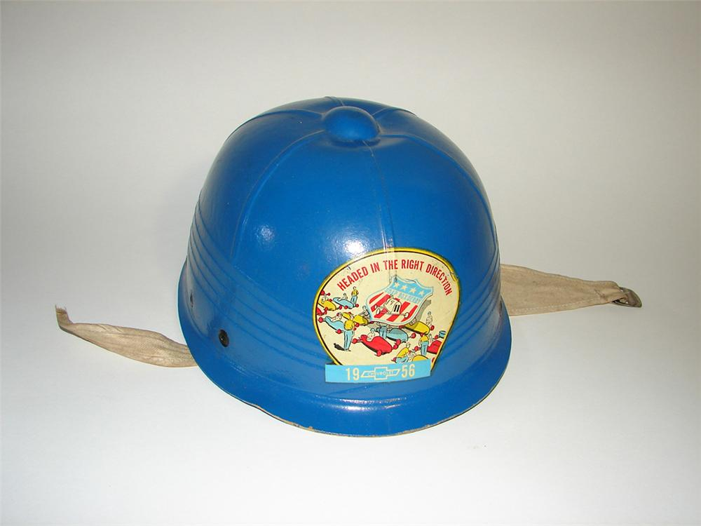 Neat 1956 Chevrolet Soap Box Derby race helmet. - Front 3/4 - 101843