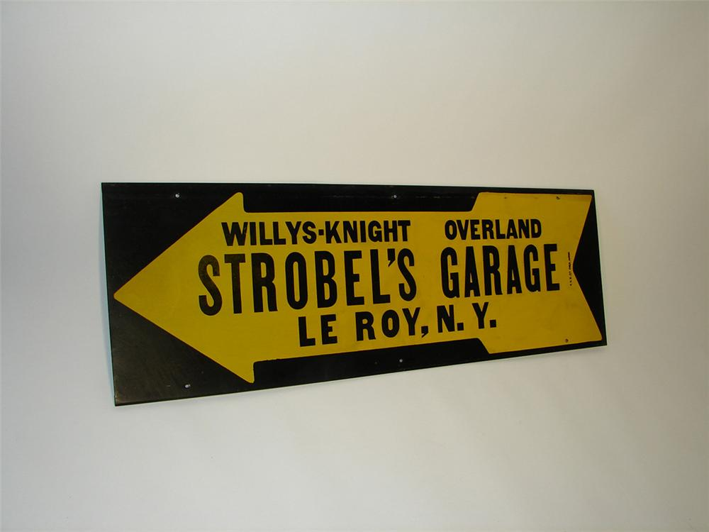 Rare 1930s Willys-Knight Overland Strobels Garage tin painted arrow sign. - Front 3/4 - 101845
