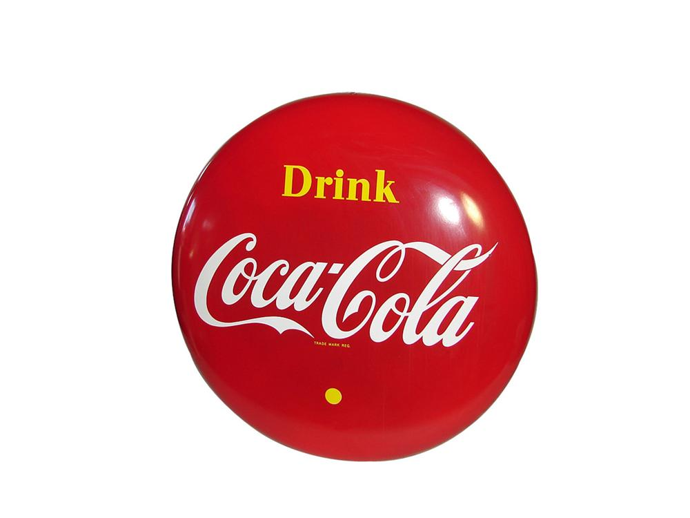 Spectacular 1950s Drink Coca-Cola general store porcelain button sign. - Front 3/4 - 101850