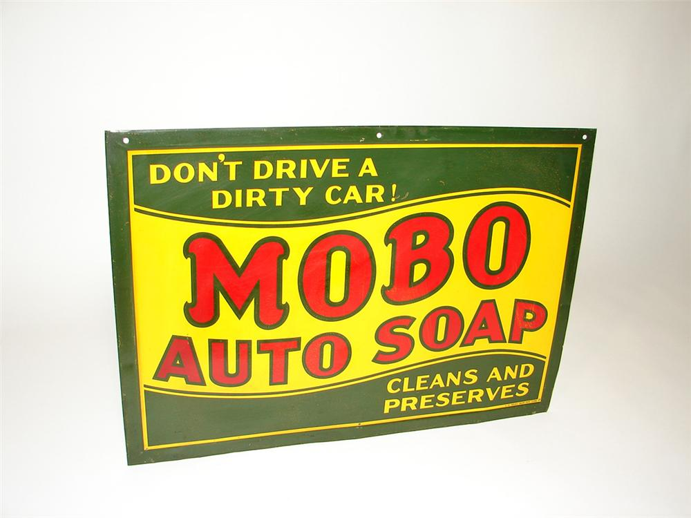 Amazing 1920s Mobo Auto-Soap self-framed tin painted garage sign. - Front 3/4 - 101851