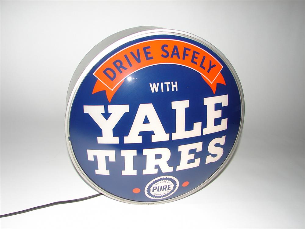 Very rare 1930s Pure Oil Yale Tires glass faced light-up station sign. - Front 3/4 - 101855