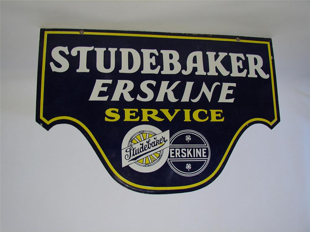 Rare 1930s Studebaker-Erskine double-sided porcelain dealership sign. - Front 3/4 - 101858