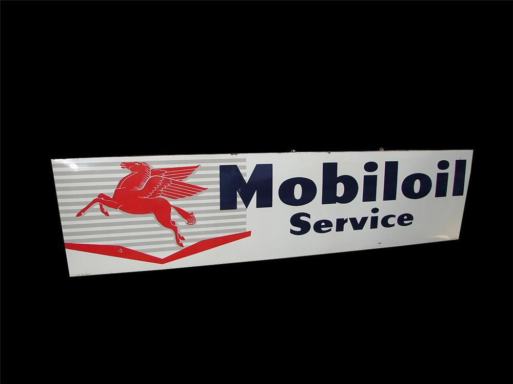 Very rare 1958 Mobil Oil Service single-sided porcelain service station sign with Pegasus logo. - Front 3/4 - 101859