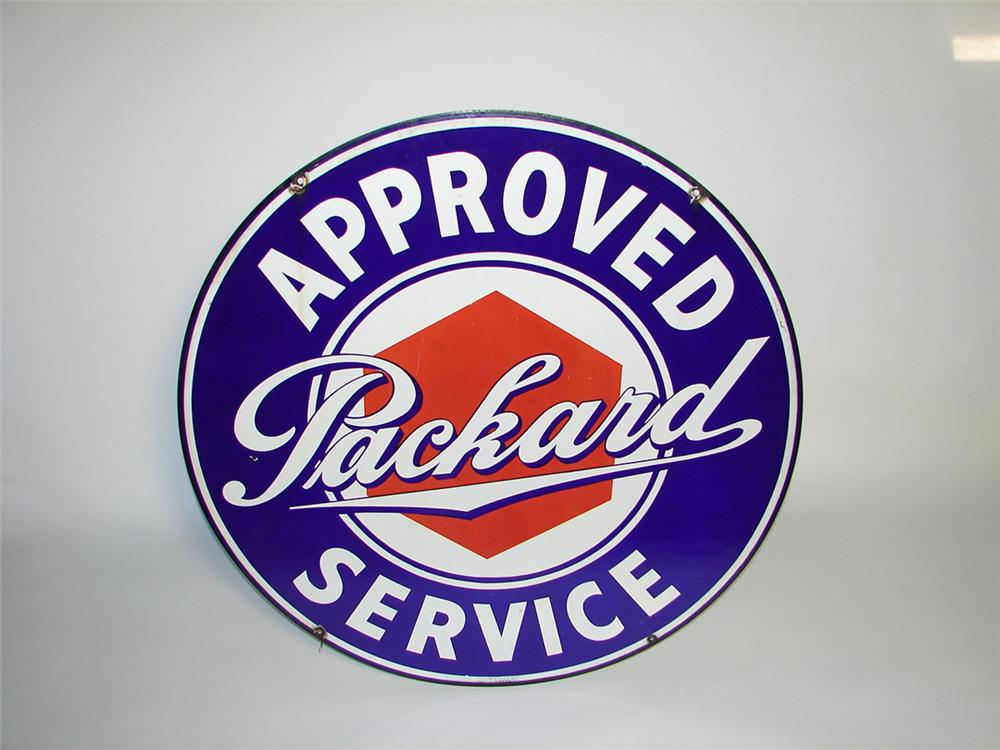 Extremely hard to find 1930s Packard Approved Service double-sided porcelain dealership sign. - Front 3/4 - 101860