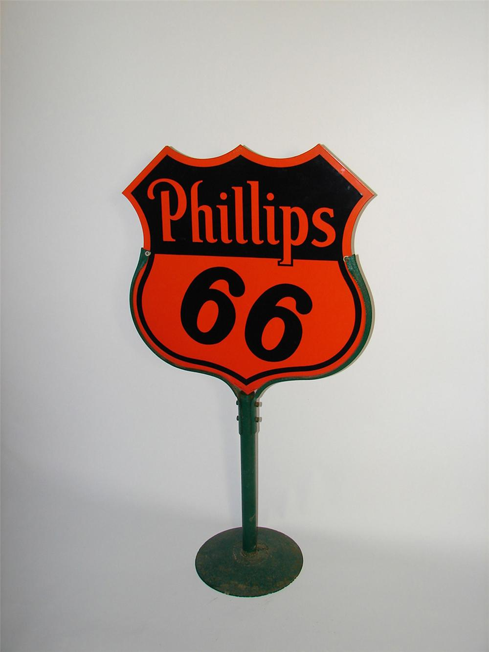 Magnificent 1945 Phillips 66 Motor Oil double-sided shield shaped curb sign on stand. - Front 3/4 - 101861