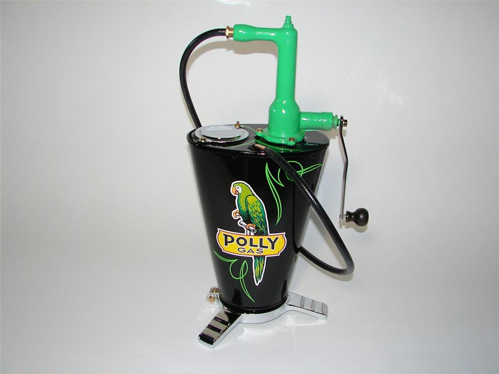 Stunning 1920s-30s Polly Oil service department five gallon hand crank lubester. - Front 3/4 - 101868