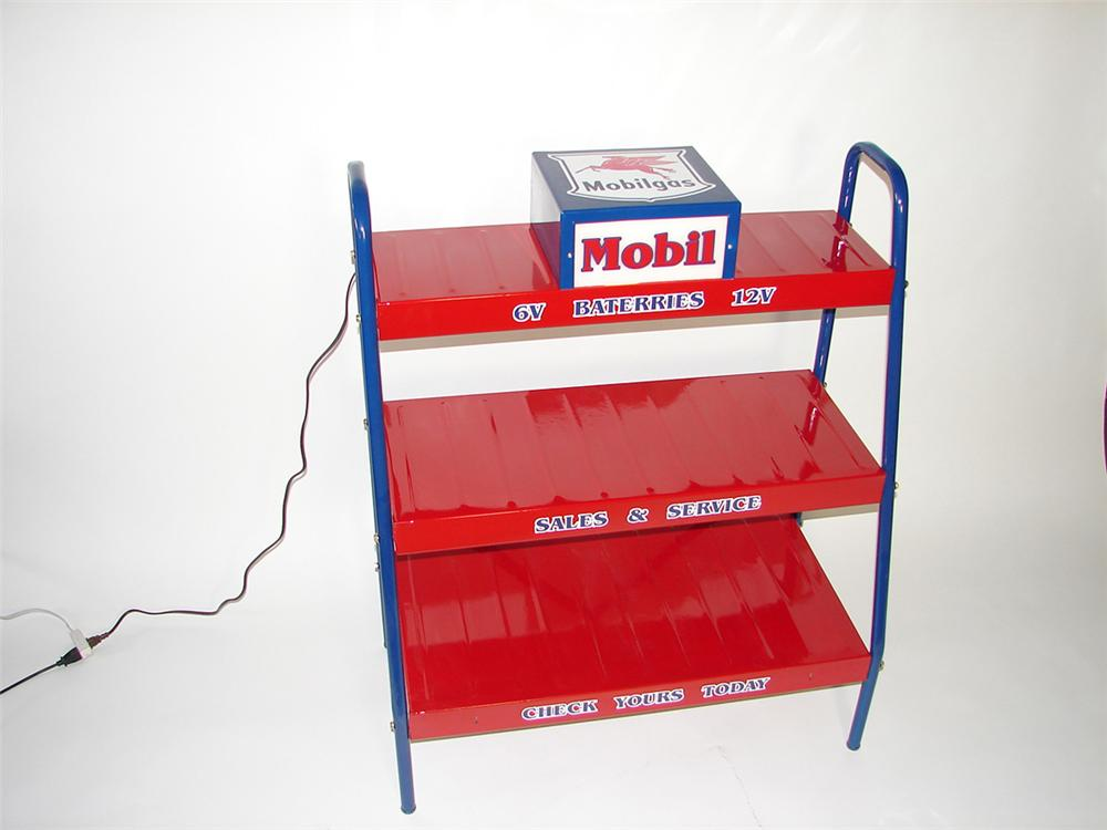Choice 1950s Mobil service station restored battery display rack with lighted unit. - Front 3/4 - 101871