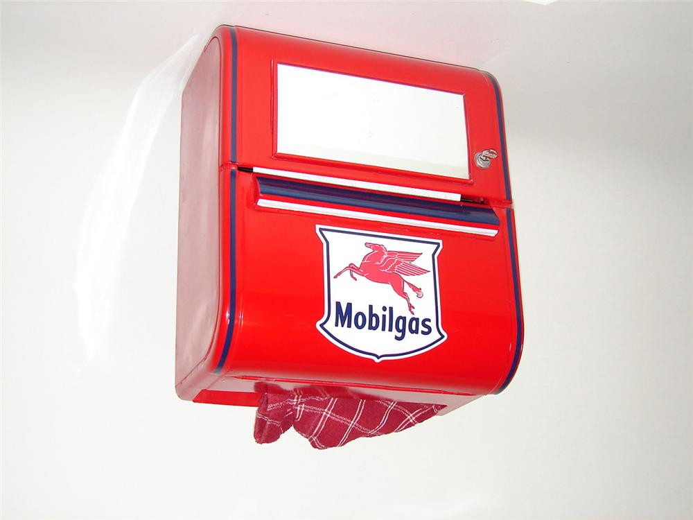 Neatly restored 1940s-50s Mobil Oil service station rest room towel dispenser. - Front 3/4 - 101872