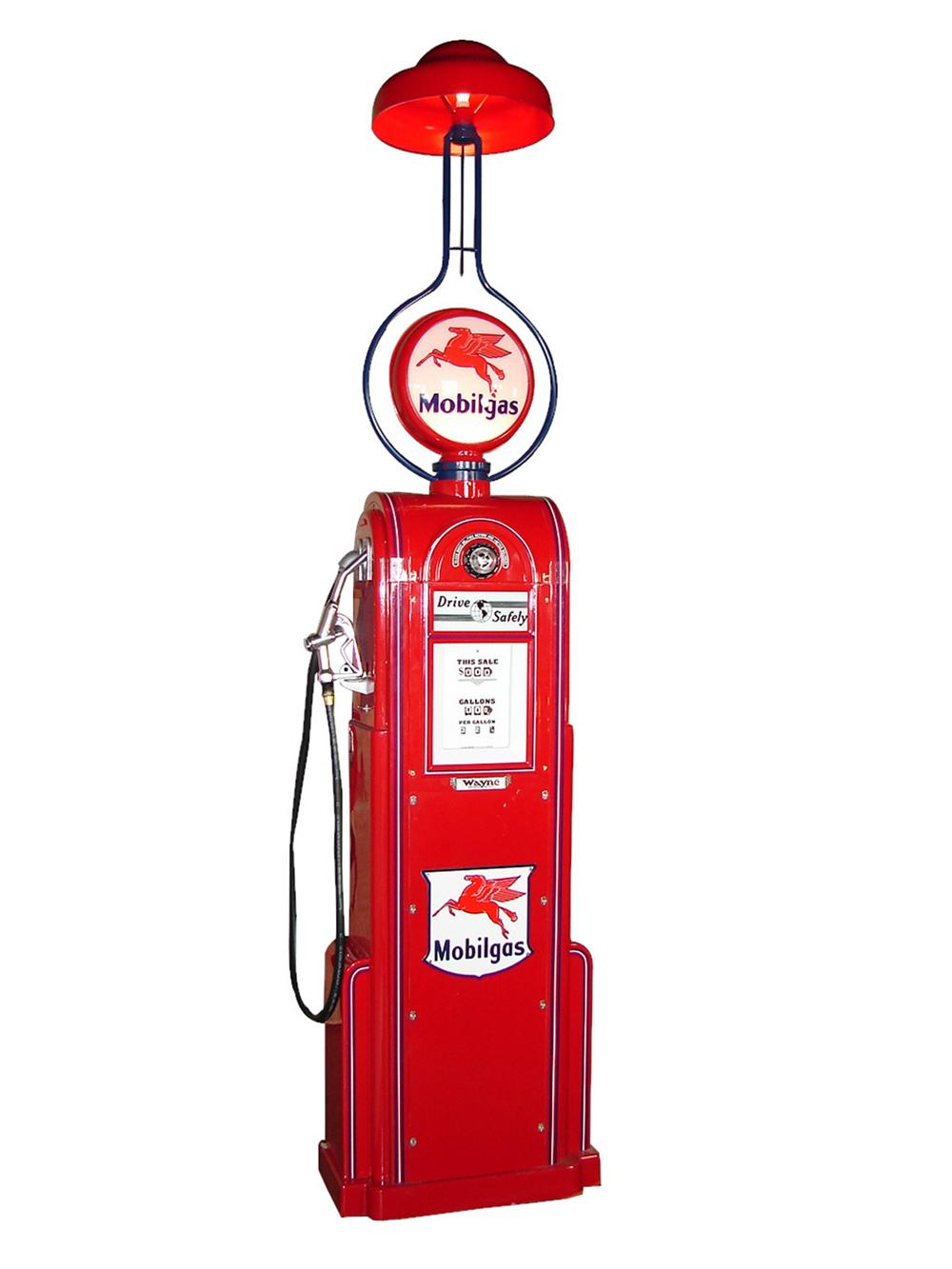 Spectacular 1935 Wayne model #60 restored service station gas pump with station lighter attached. - Front 3/4 - 101876