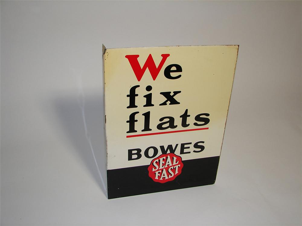 "Unusual 1940s Bowes Seal Fast ""We Fix Flats"" service garage tin painted garage flange. - Front 3/4 - 101888"