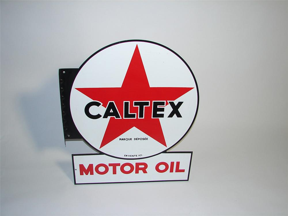 N.O.S. over-sized 1950s CalTex (California-Texas) Motor Oil double-sided porcelain service station flange sign. - Front 3/4 - 101890