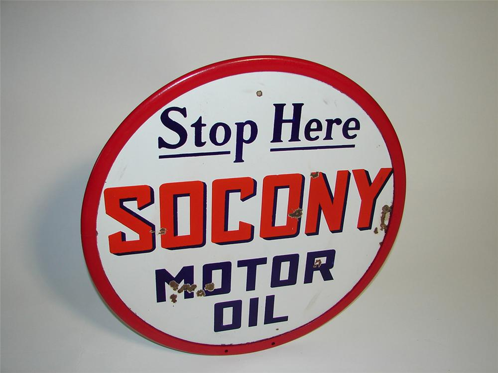 1930s Socony (Standard Oil Company of New York) double-sided porcelain service station sign. - Front 3/4 - 101891