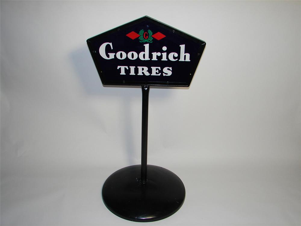 Sharp 1930s Goodrich Tires double-sided porcelain garage curb sign on stand. - Front 3/4 - 101892