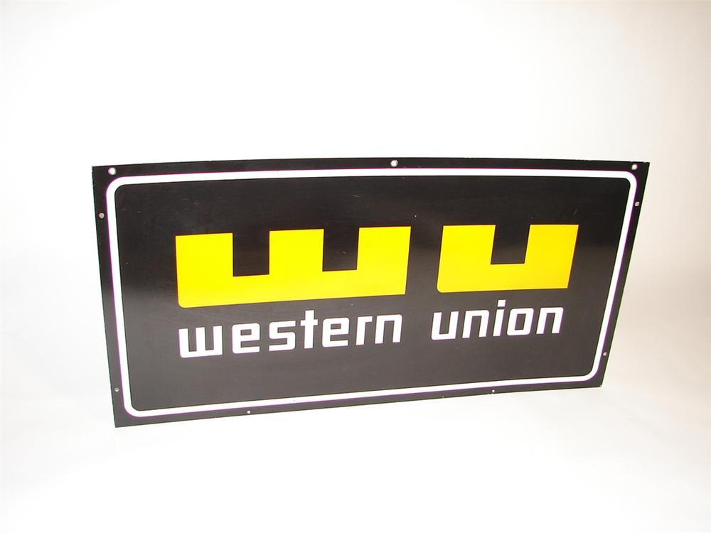 Large N.O.S. Western Union double-sided porcelain general store sign. - Front 3/4 - 101893