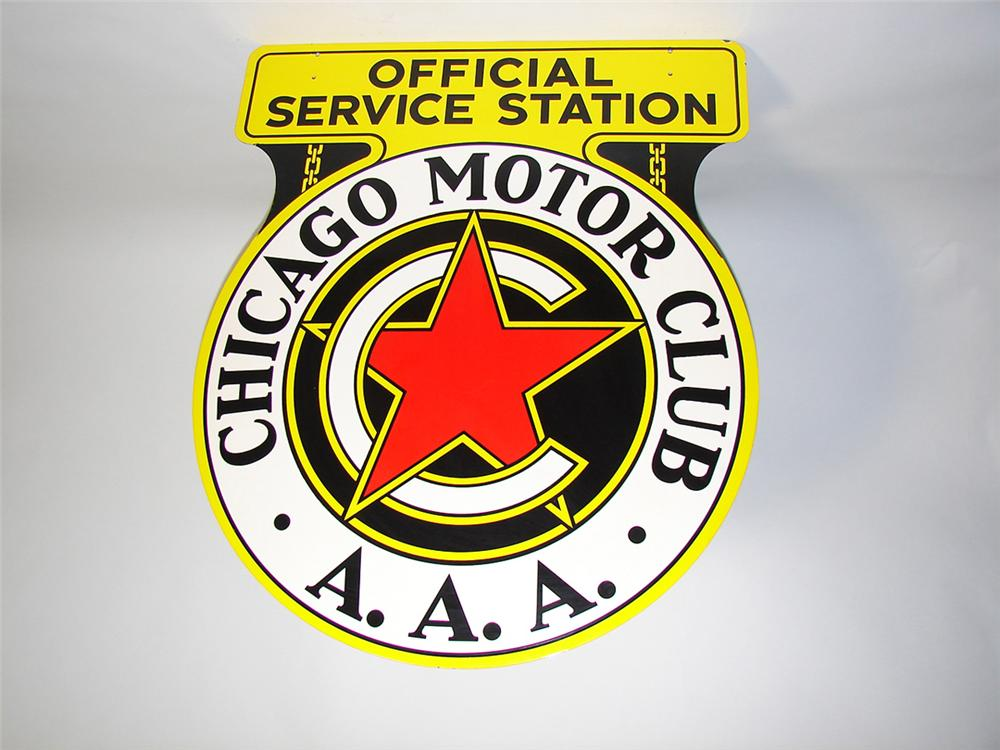 Phenomenal N.O.S. 1940s Chicago Motor Club double-sided porcelain service garage sign. - Front 3/4 - 101894