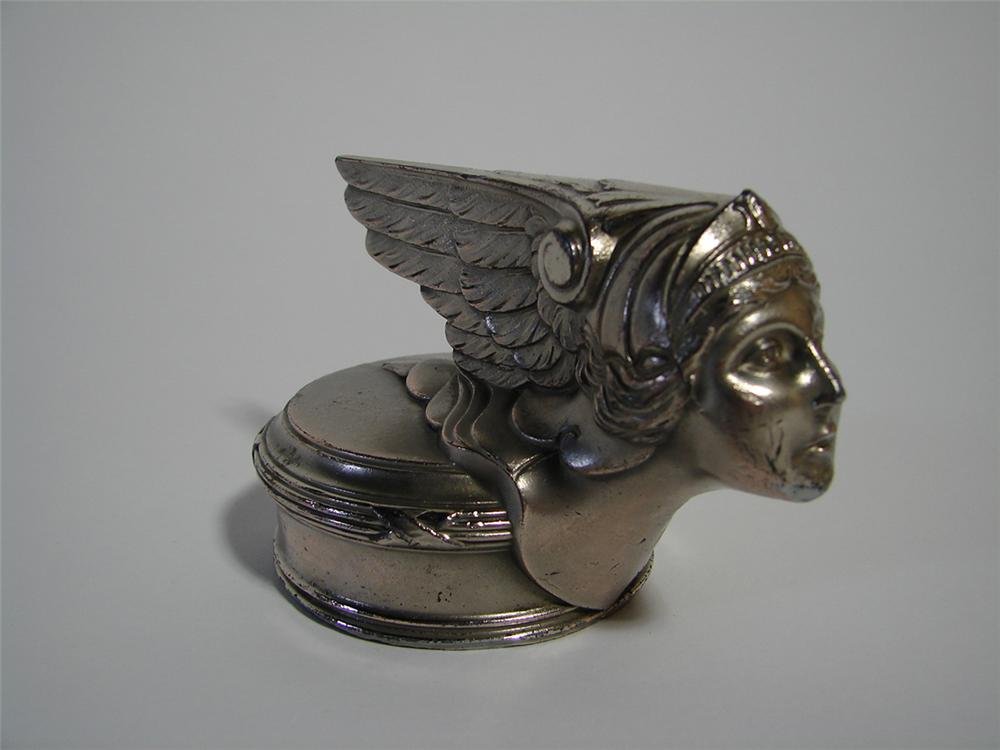 Simply stunning 1926 Buick Goddess Hood Mascot/radiator cap. Displays on wooden base. - Front 3/4 - 101896