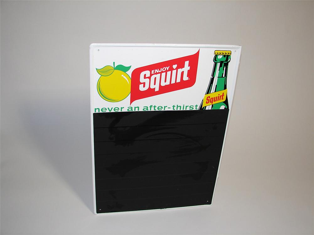 N.O.S. Squirt Soda embossed tin diner menu board with bottle graphic. - Front 3/4 - 101912