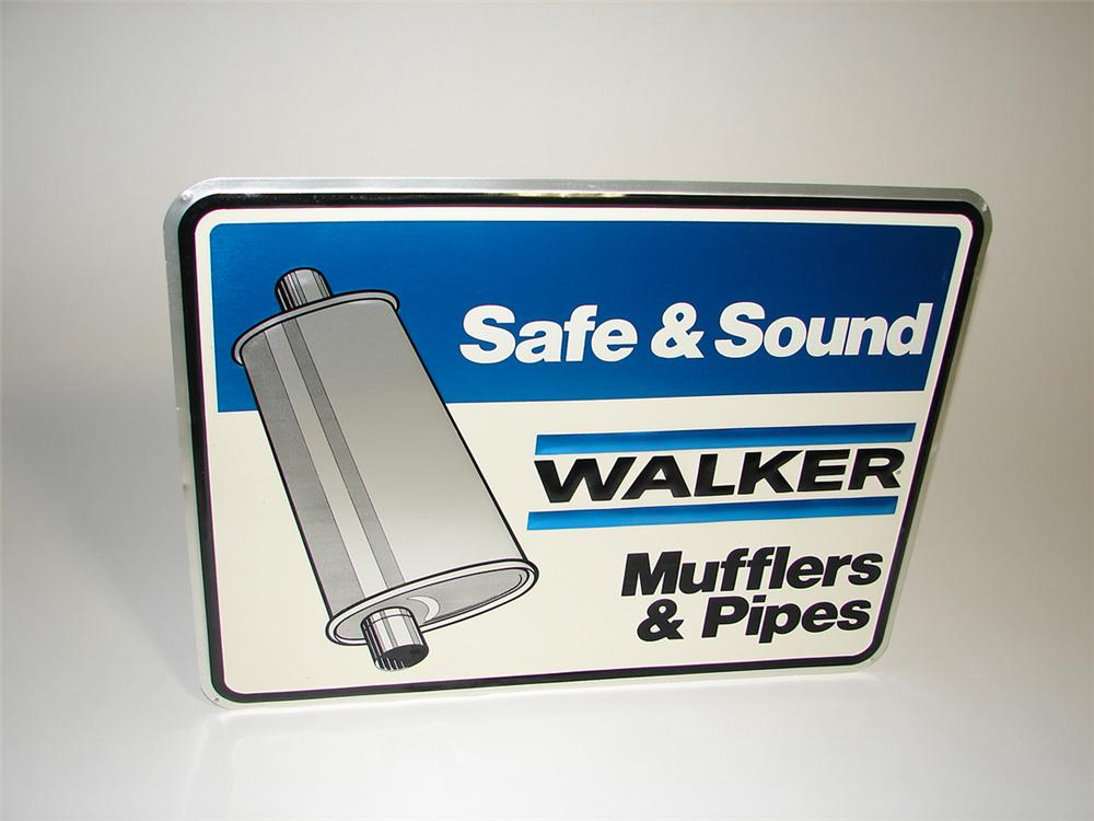 N.O.S. Walker Muffler and Pipes embossed tin garage sign with muffler graphic. - Front 3/4 - 101913