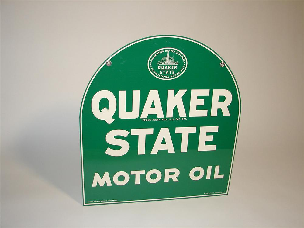 N.O.S. Quaker State Motor Oil double-sided tin painted garage sign. - Front 3/4 - 101916