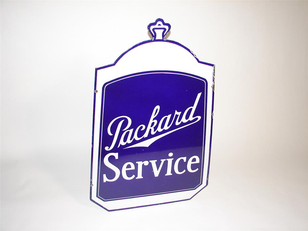Extremely rare 1930s Packard Automobiles radiator shaped double-sided porcelain dealership sign. - Front 3/4 - 101917